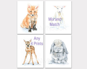 Animal Watercolor Art Prints - Set of 4  - Mix and Match