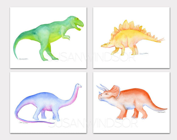Dinosaur Watercolor Art Prints - Set of 4 Animals - T.rex, Apatosaurus, Triceratops, and Stegosaurus