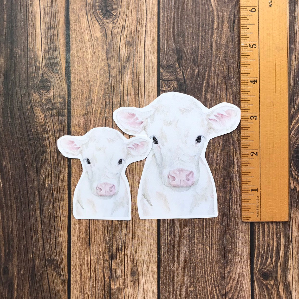 White Cow Calf Vinyl Sticker