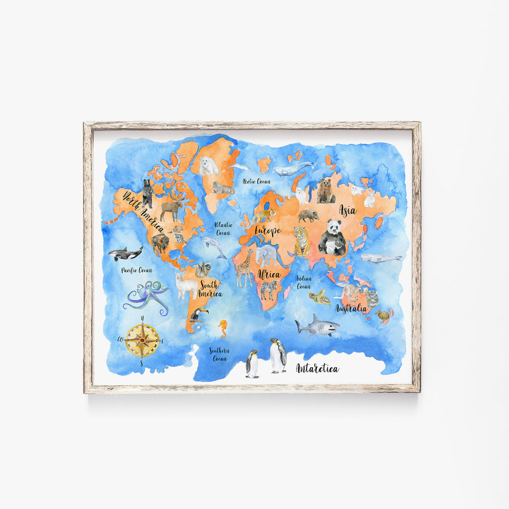 Watercolor World Map with Animals