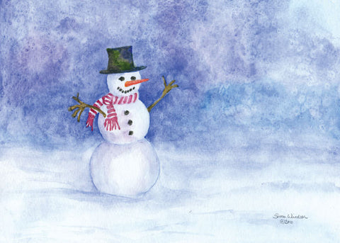 Snowman Watercolor Christmas Cards set of 10
