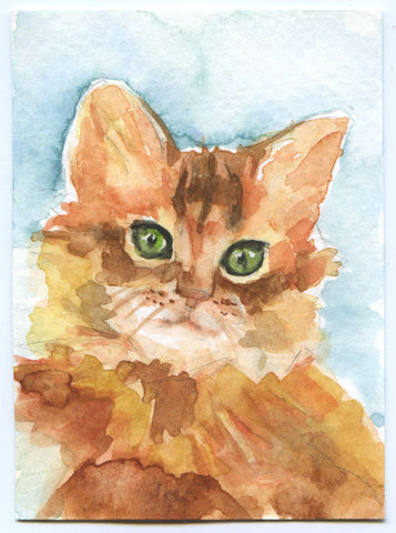 Custom Pet Portrait Watercolor Painting - 5 x 7 - Cat Portrait - Dog Portrait - Bunny Portrait