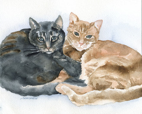 Custom Pet Portrait - of Two Animals - Watercolor Painting - Original Art