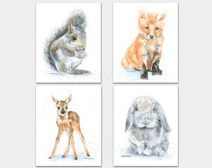 Woodland Animal Art Print Set Two - Set of 4 Animals - Squirrel, Fox, Deer, Rabbit