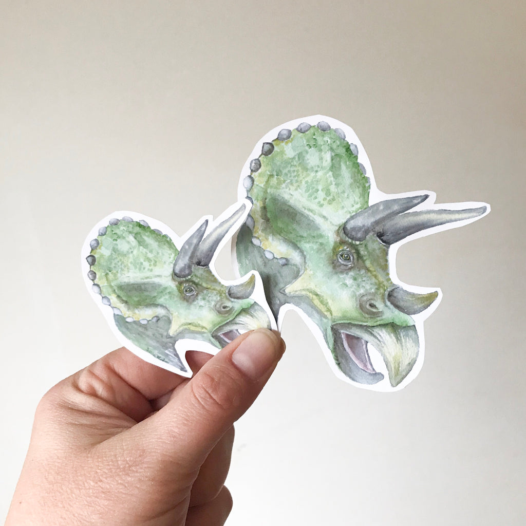 Triceratops Watercolor Vinyl Sticker