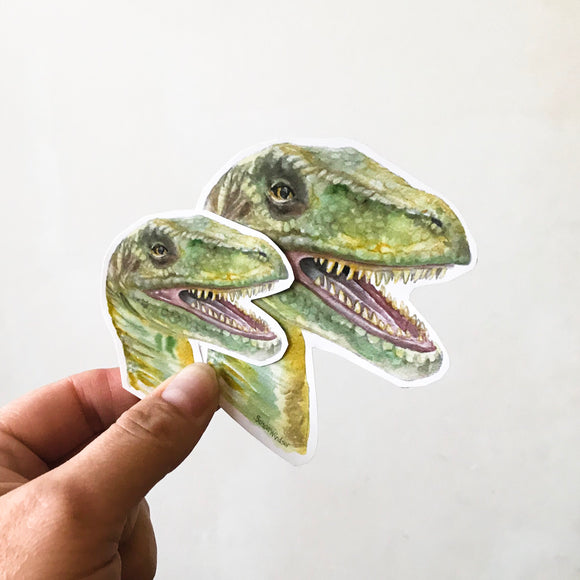 Velociraptor Watercolor Vinyl Sticker