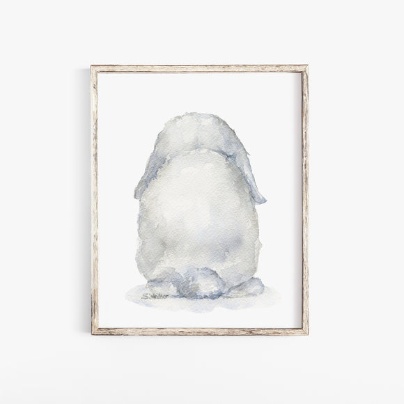 Mini Lop Rabbit Back Watercolor