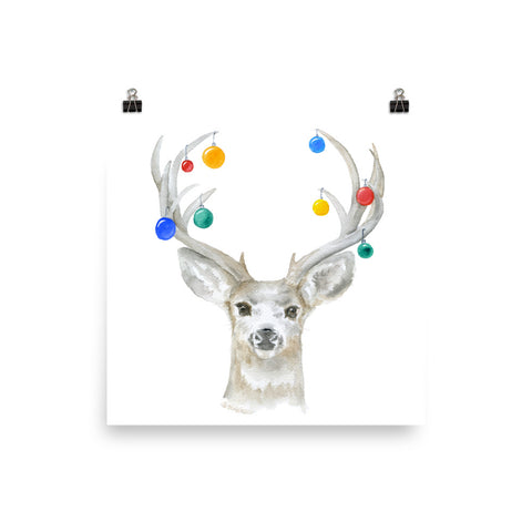 Christmas Deer and Ornaments Watercolor Print