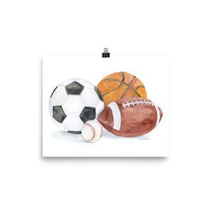 Sports Ball Theme Watercolor art print