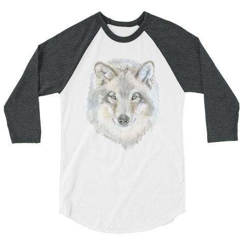 Gray Wolf Watercolor 3/4 sleeve raglan shirt