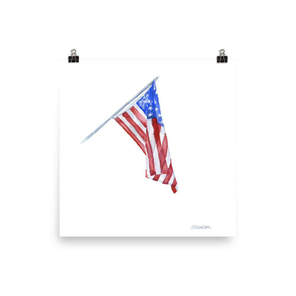 American Flag Watercolor Painting Print