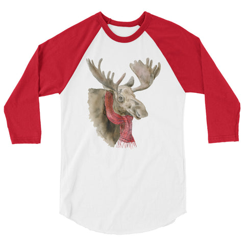 Moose with Scarf Watercolor 3/4 sleeve raglan shirt