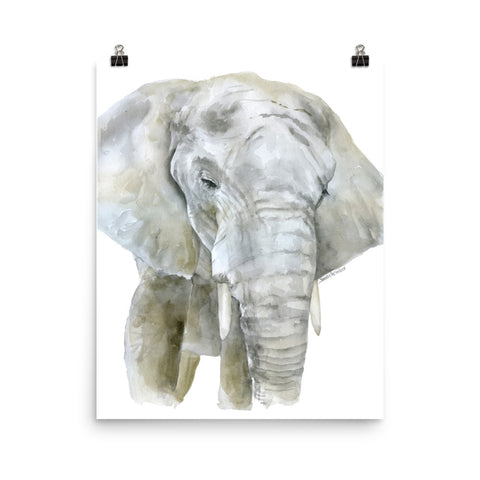 African Elephant Watercolor