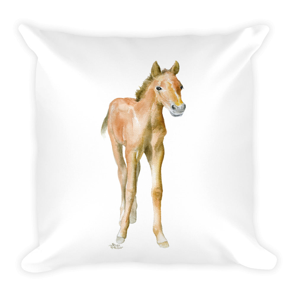 Horse Watercolor Pony Square Pillow