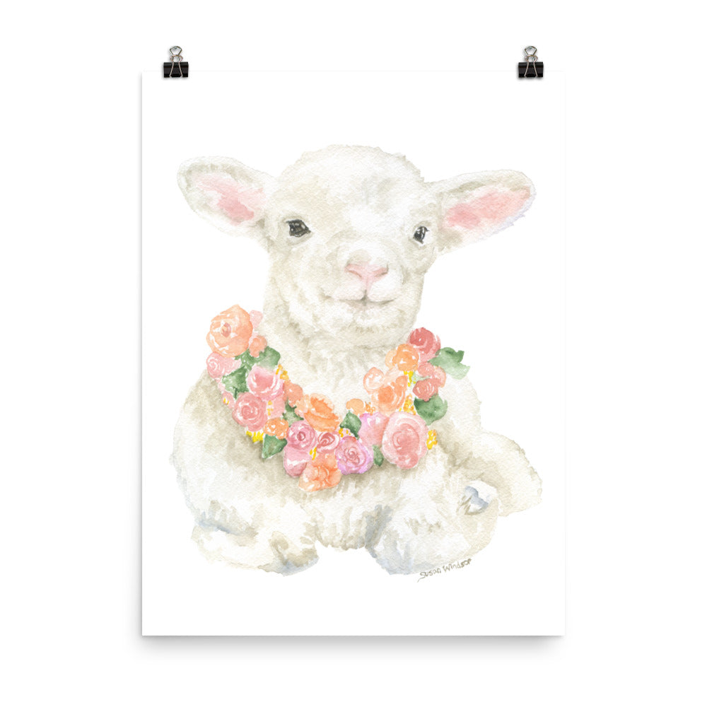 Lamb Floral Watercolor