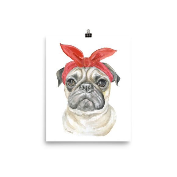 Pug with Bandana Watercolor Painting