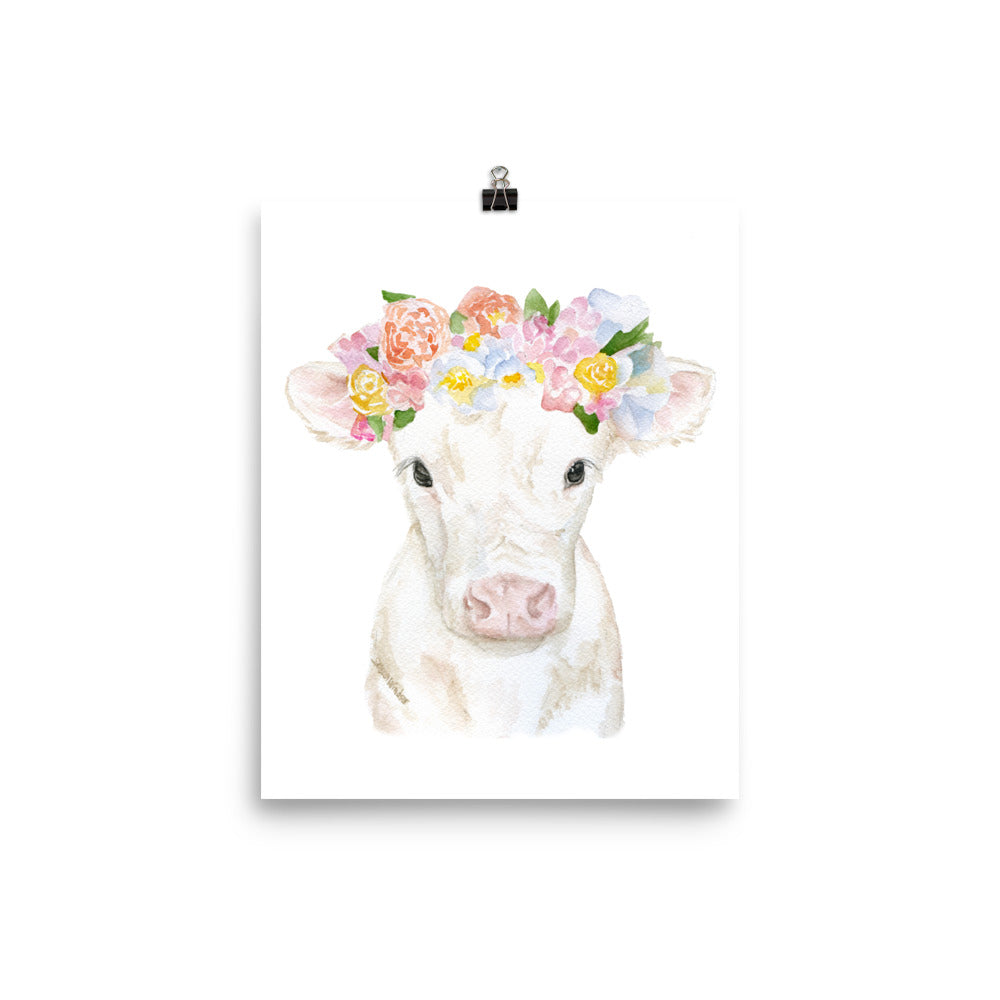 White Cow Calf with Floral Crown Watercolor