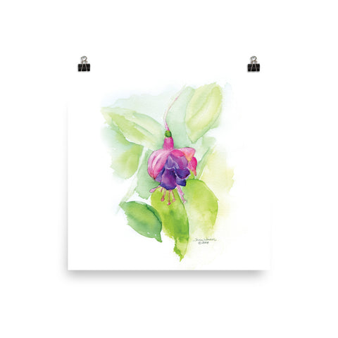 Fuchsia Watercolor Floral