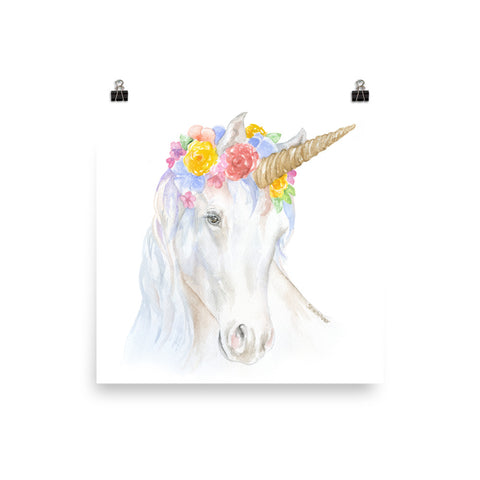 Watercolor Unicorn Flower Crown