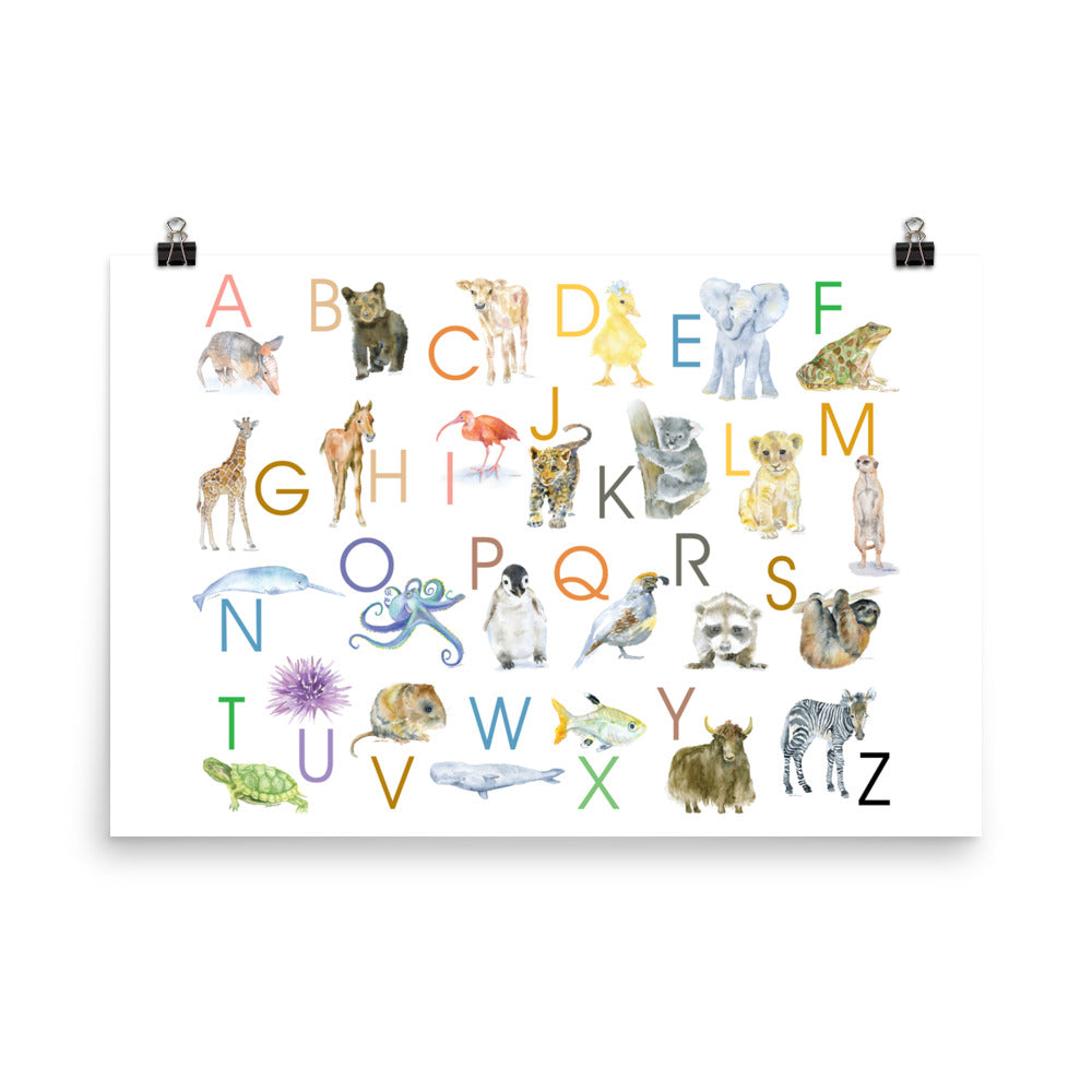 Animal Alphabet Poster 2 Watercolor - Horizontal