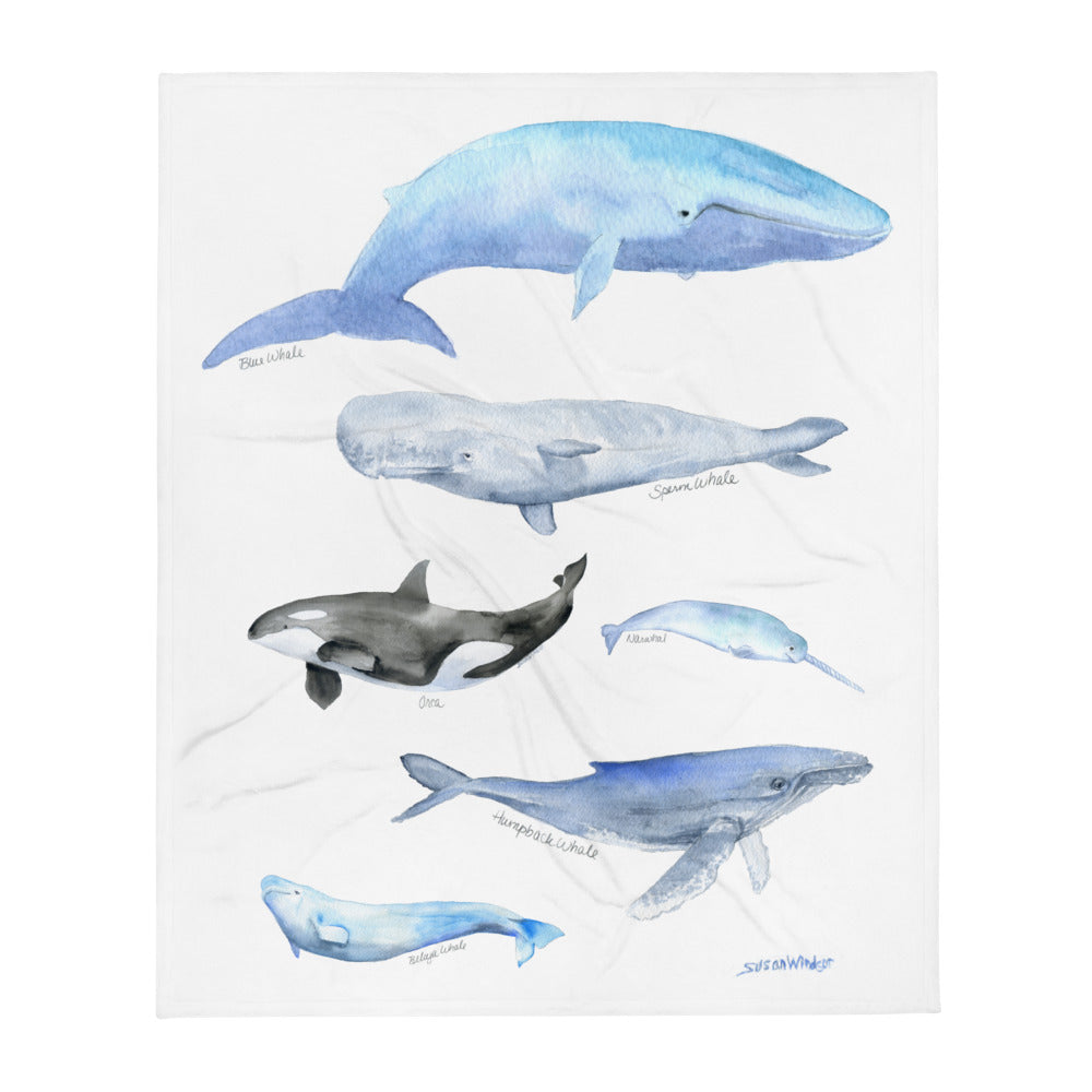 Whale Variety Watercolor Throw Blanket