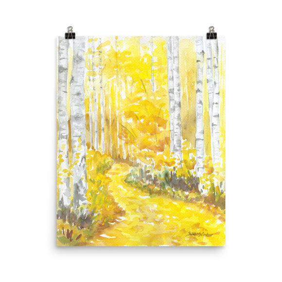 Aspen Trees Watercolor