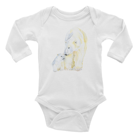 Mother and Baby Polar Bears Infant Long Sleeve Bodysuit