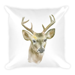 Deer Buck Watercolor Throw Pillow