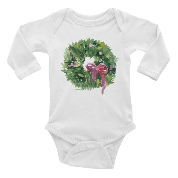 Christmas Wreath Watercolor Infant Long Sleeve Bodysuit