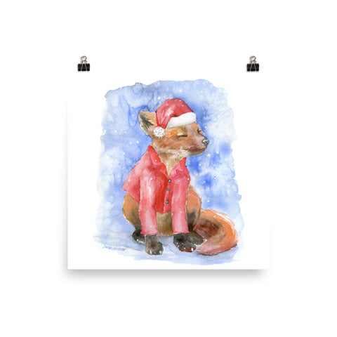 Christmas Fox in the Snow Watercolor Print