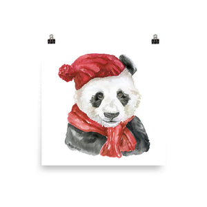 Panda Bear Red Hat and Scarf Watercolor