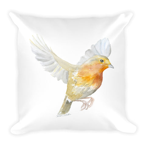 Flying Robin Watercolor Throw Pillow