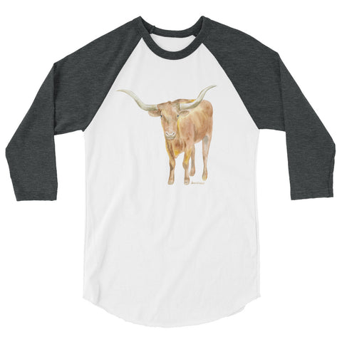 Texas Longhorn Watercolor 3/4 sleeve raglan shirt