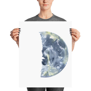 First Quarter Moon Watercolor