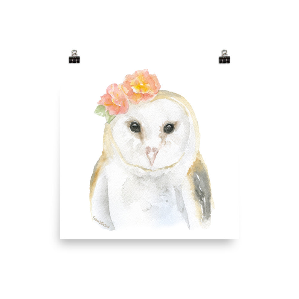 Barn Owl with Flowers
