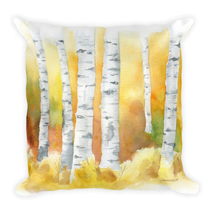 Birch Trees in the Fall Watercolor Throw Pillow