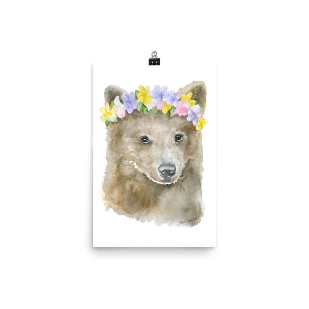 Bear Cub with Flowers Watercolor