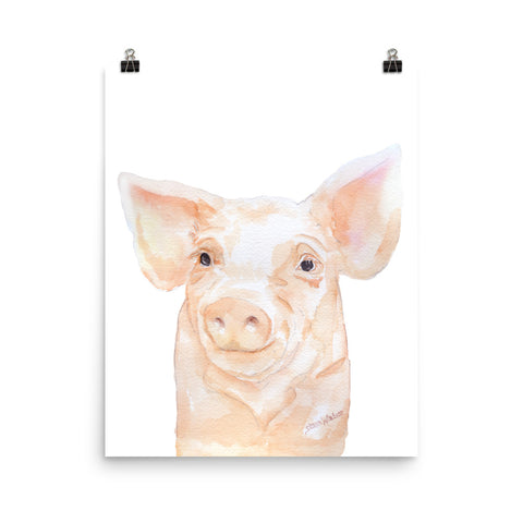 Pink Pig Watercolor