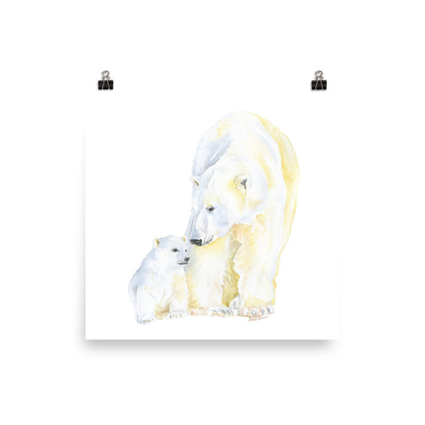 Mother and Baby Polar Bears Watercolor