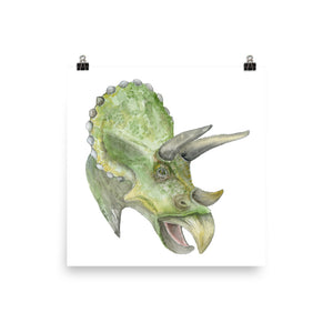 Triceratops Watercolor Print