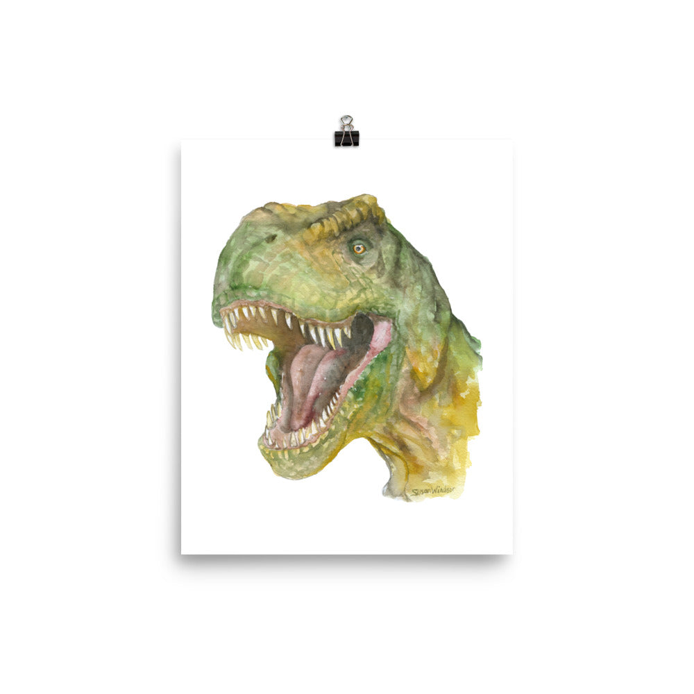 T. rex Watercolor Painting Print