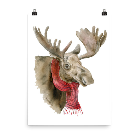 Moose in a Scarf Watercolor