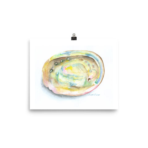 Abalone Seashell Watercolor Print