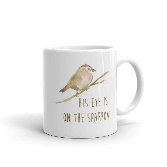 His Eye Is on the Sparrow Watercolor Coffee Mug