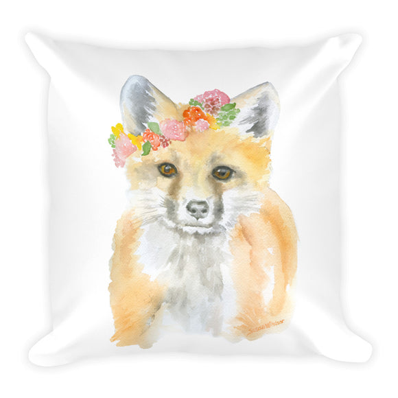 Fox with Flowers Square Pillow