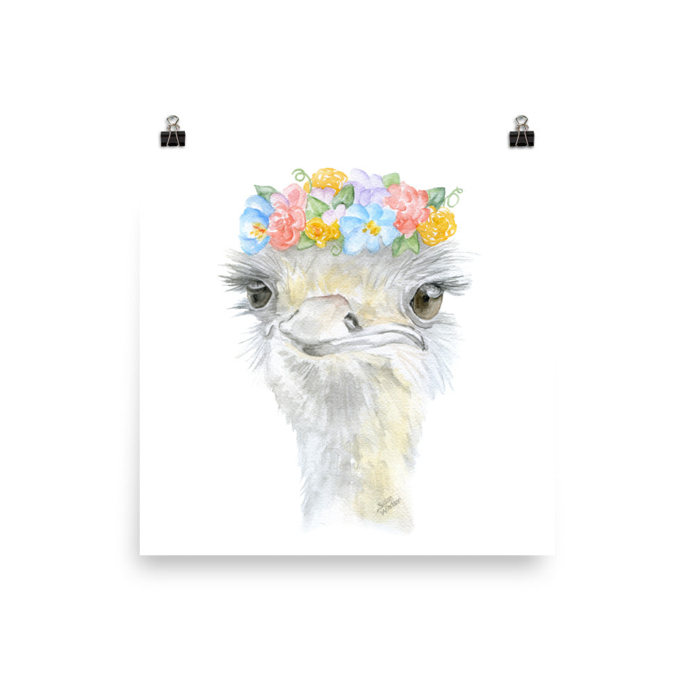 Ostrich with Flowers Watercolor