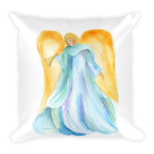 Angel and Trumpet Square Pillow
