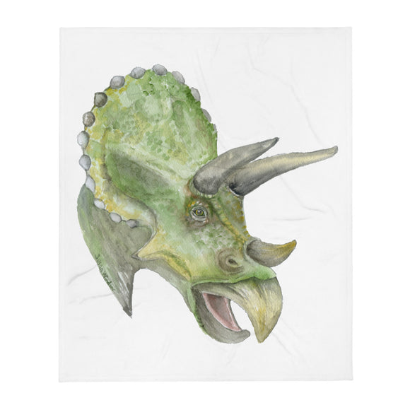 Triceratops Watercolor Throw Blanket