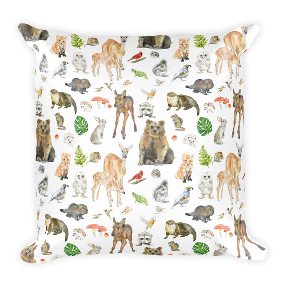 Woodland Animals Square Pillow