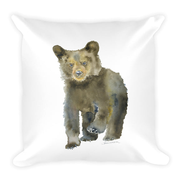 Black Bear Cub Watercolor Throw Pillow